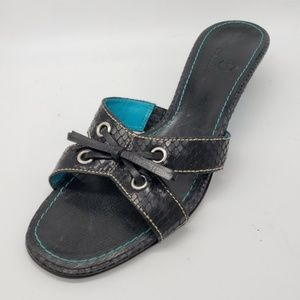Cole Haan Leather Slide Sandals Snakeskin Accents